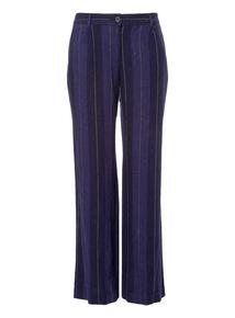 Navy Linen Stripe Wide Leg Trousers