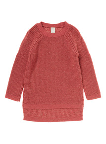 Girls Red Sparkle Cold Shoulder Jumper (3-12 years)