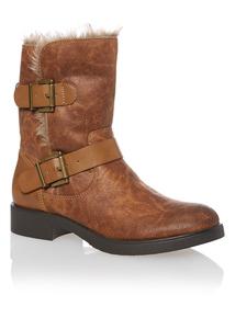 Brown Fur Trim Biker Boots