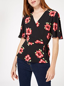 Multicoloured Floral Wrap Front Top