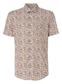 Ochre Ditsy Floral Print Slim Fit Shirt