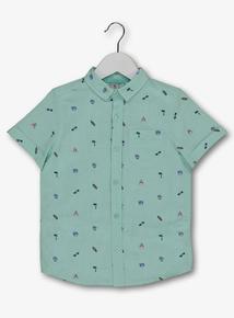 Mint Green Pop Art Print Shirt (3-14 Years)