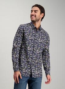 b2be6ba092c Dark Navy Flower Print Slim Fit Shirt