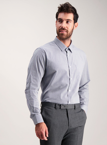 Navy Gingham Tailored Fit Easy Iron Long Sleeve Shirt 2 Pack