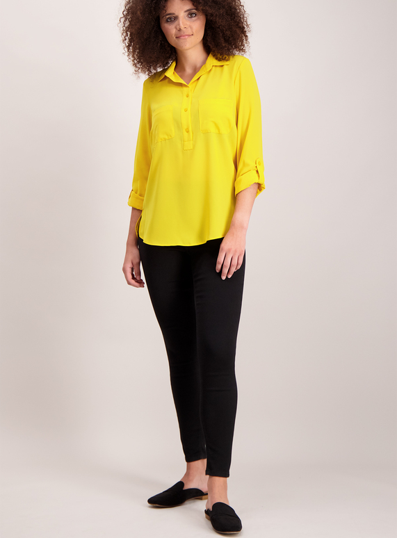Yellow Roll Sleeve Blouse