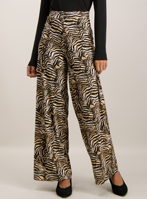 Multicoloured Animal Print Wide Leg Trousers