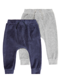 Navy and Grey 2 Pack Velour Joggers (0-12 months)