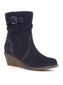 Suede Calf Wedge Boot