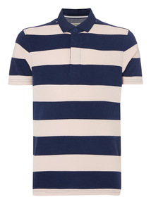 Navy Block Stripe Rugby Top