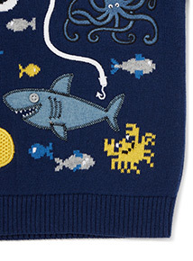 Navy Sea Scene Appliqué Jumper (9 months-6 years)