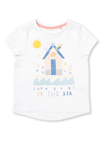 White Sea Print Glitter T-Shirt (9 months-6 years)