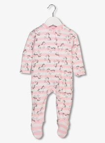 Pink Unicorn Zip Through All In One (Newborn -24 Months)