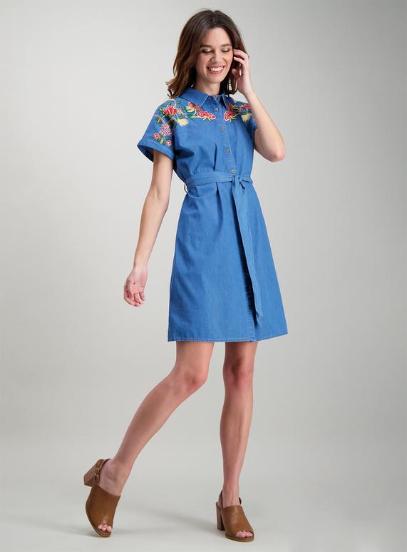6e13fa0c547 Womens Blue Denim Embroidered Shirt Dress