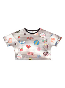 Multicoloured Badge Stripe Top (3 - 12 years)