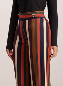 Multicoloured Stripe Wide Leg Trousers
