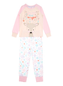 Pink Merry and Bright Christmas Pyjama Set (1-12 years)