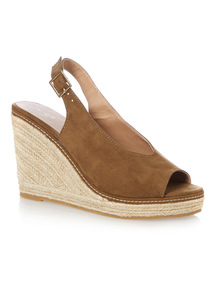 Hi Cut Raffia Wedge Sandals