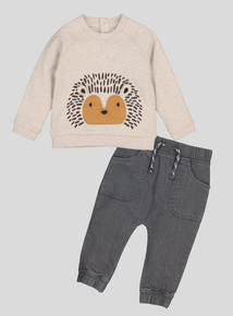 Oatmeal Hedgehog Sweatshirt & Jean Set (0-24 Months)