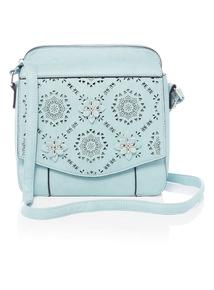 Light Blue Laser Cut Out Floral Cross Body Bag