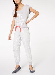 Grey PJ's All Day Slogan Pyjamas