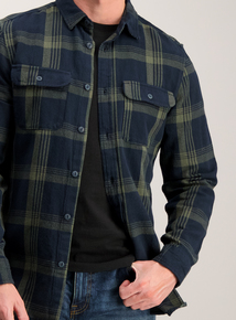 Khaki & Navy Check Regular Fit Overshirt