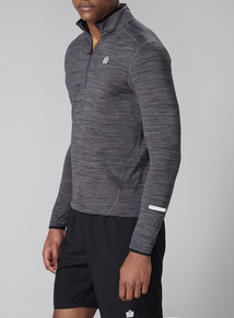 Admiral Charcoal Brush Back Zip Neck Top