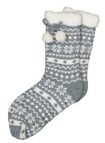 Grey Fairisle Knitted Slipper Socks