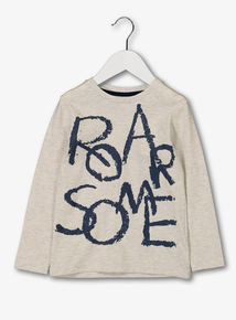 Oatmeal 'Roarsome' Long Sleeve T-Shirt (1 - 6 Years)
