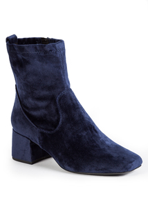 Blue Block Heel Ankle Boots