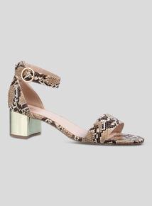 29c06dbc52f Beige Snakeskin Print Block Heel Sandal