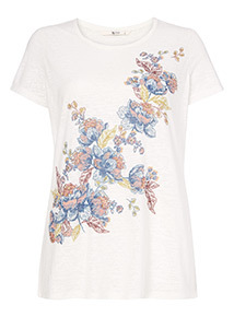 Multicoloured Flower Graphic T-Shirt