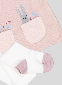 Light Pink Bunny Knitted Dress & Tights (0-24 months)