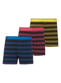 Multicoloured Stripe Boxers 3 Pack