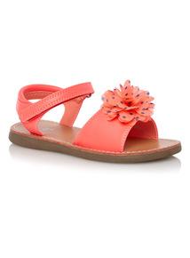 Girls Pink Havana Corsage Sandals