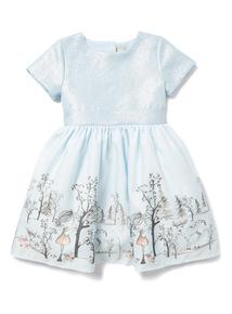 Light Blue Winter Border Occasion Dress (9 months-6 years)