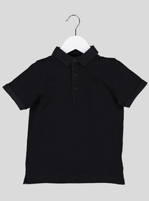 Black Button-Up Smart Polo Shirt (3-14 Years)