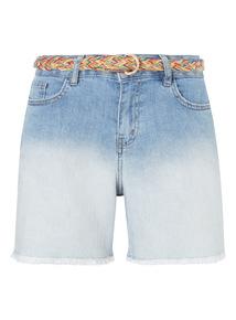 Denim Belted Ombre Boy Shorts