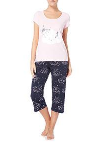 Pink Cloud Pattern Pyjama Set