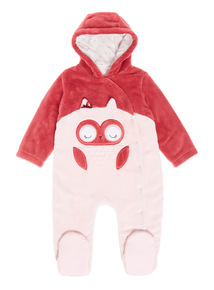 Dark Red Novelty Owl Pramsuit (0-24 Months)