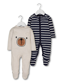 Multicoloured Bear Sleepsuit 2 Pack (0-24 months)