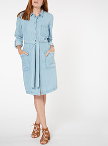Denim Tie Front Dress