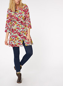 Multicoloured Side Tie Floral Tunic