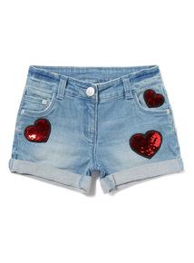Denim Sequin Heart Shorts (3-14 years)