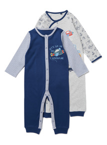 2 Pack Multicoloured Vehicle Sleepsuits (0-24 months)