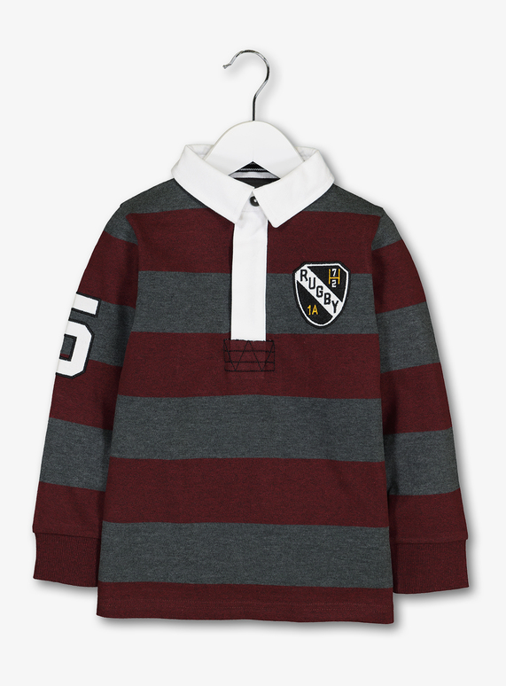 e7cbc848420f Kids Burgundy Stripe Rugby Shirt (3-14 years)