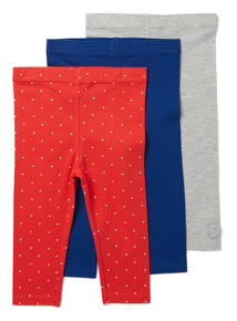 3 Pack Multicoloured Leggings (0-24 months)
