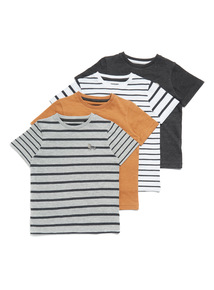 4 Pack Multicoloured Stripe and Plain T-Shirts (3-14 years)