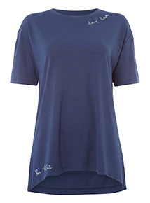 Navy 'Love Love' Embroidered T-Shirt