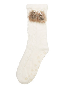 Cream Cable Knit Socks