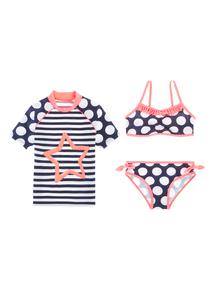 Girls Multicoloured Bikini & Rash Vest Set (3-12 years)